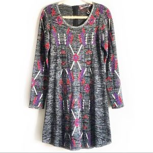 NWOT Desigual Graphic Sweater Dress Silver Gray XL